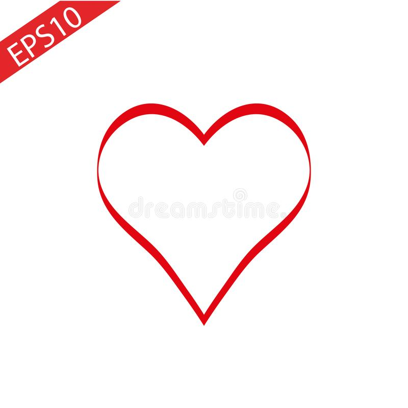 Heart Red Icon line Vector , Love Symbol Valentine s Day royalty free illustration