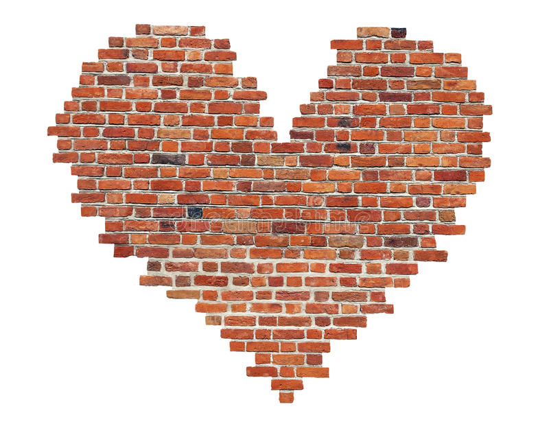 Heart of red old brick like a symbol of love royalty free stock photography