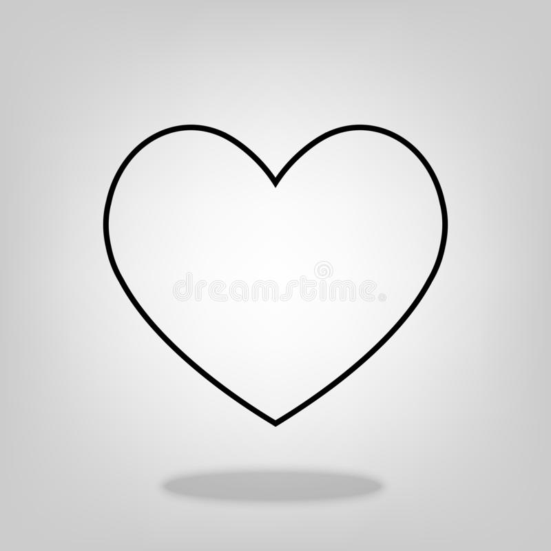 Heart Red outline flat style Icon Vector , Love Symbol Valentine`s Day isolated on white background for graphic design, logo, web vector illustration