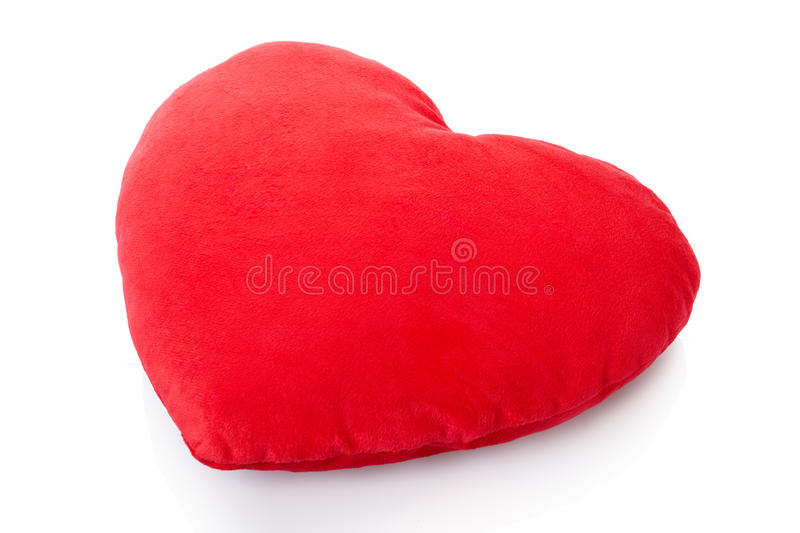 Heart red pillow, cushion. On white, clipping path included stock photography