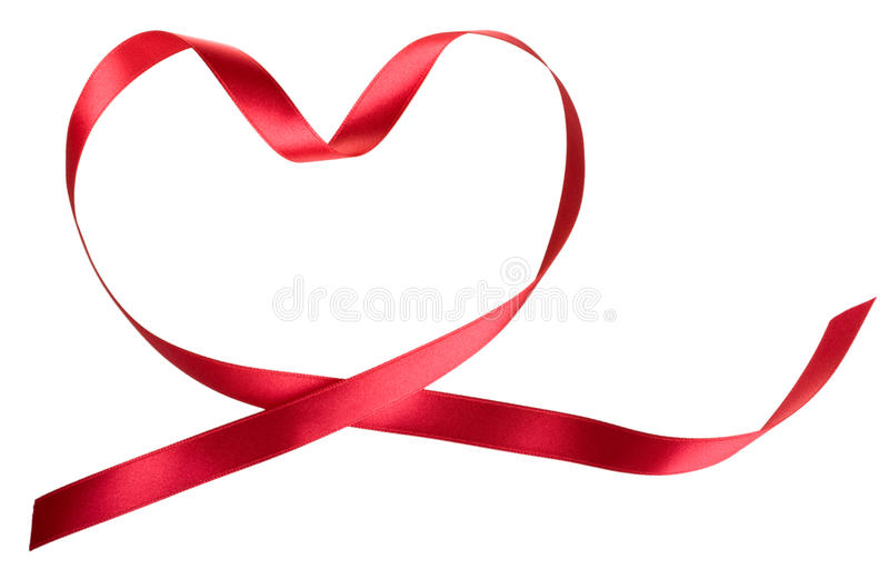 Heart of the red ribbon. Isolated on white stock images