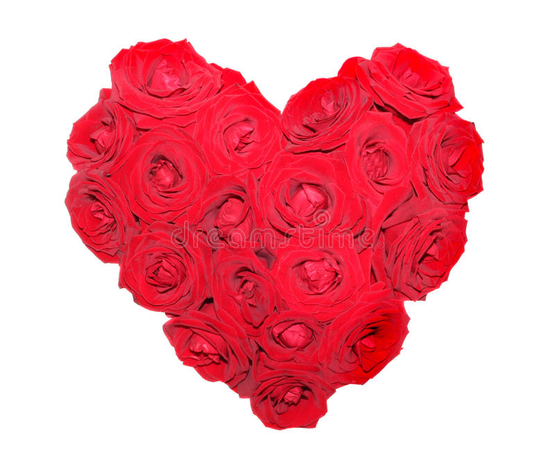 Heart from red roses. On a white background, it is isolated stock images