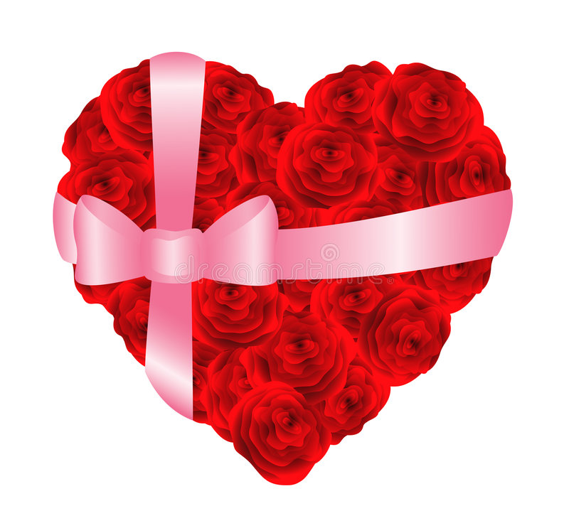 Download Heart of red roses stock vector. Image of decorative, clear - 7696226