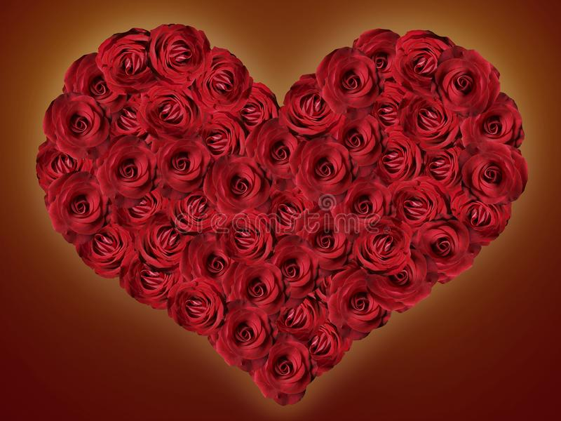 Heart of red roses on a dark background. Heart of red roses on a dark claret background royalty free stock images