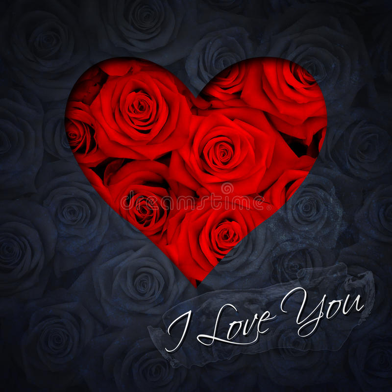 Heart of red roses. Greeting card with heart of red roses and text I Love You stock images