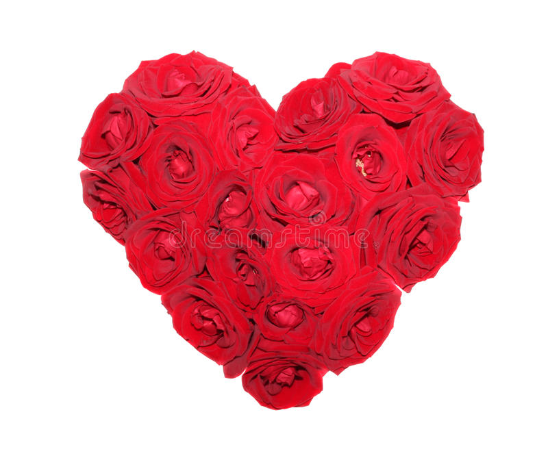 Heart from red roses isolated. Heart from red roses on a white background, it is isolated royalty free stock photos