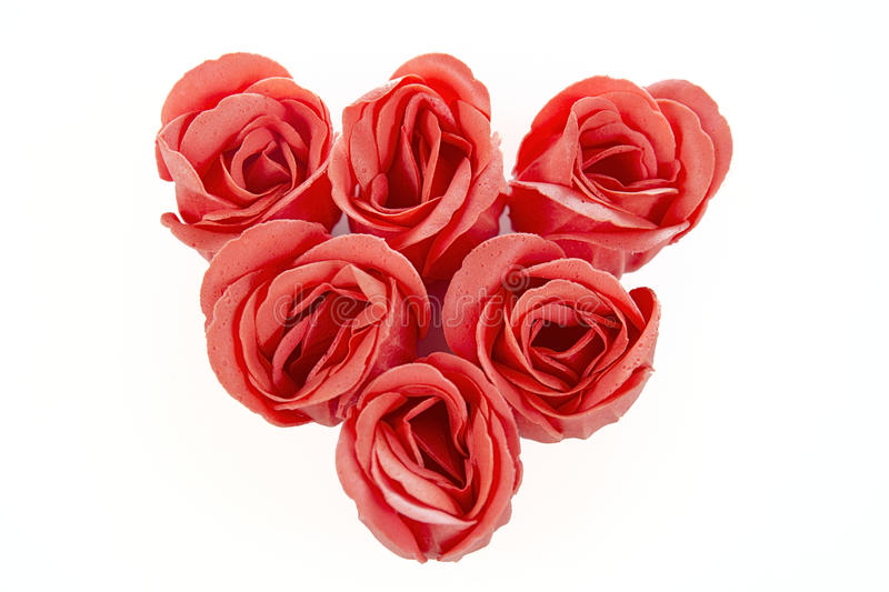 Heart of red roses from soap on a white. Background stock photo