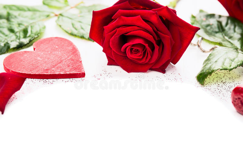 Heart and red roses on white background, valentine. S day royalty free stock image