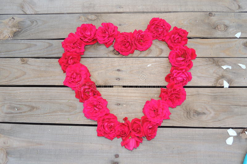 Heart of red roses on a wooden background close-up. Heart of red roses on a wooden background stock photography