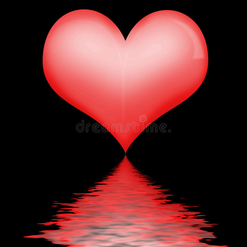 Heart reflection. Reflection of heart in water royalty free illustration