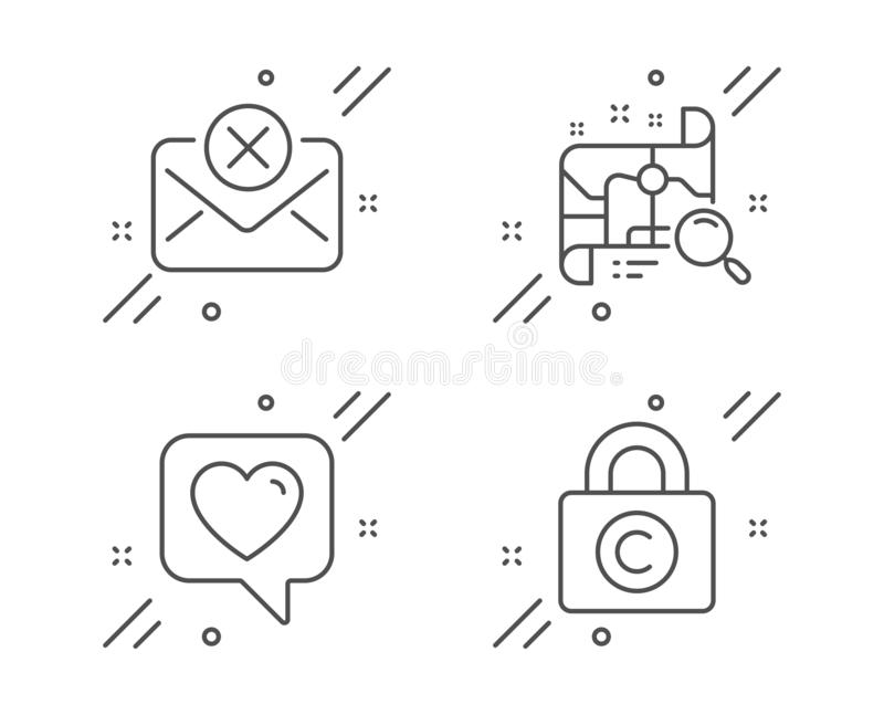 Heart, Reject mail and Search map icons set. Copyright locker sign. Like rating, Delete letter, Find address. Vector. Heart, Reject mail and Search map line vector illustration