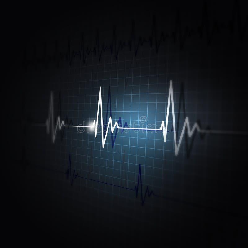 Heart rhythm on ecg display. Heart pulsating ecg rhythm graph dark background stock illustration