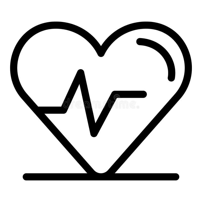 Heart rhythm icon, outline style. Heart rhythm icon. Outline heart rhythm vector icon for web design isolated on white background royalty free illustration