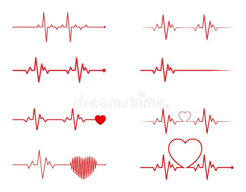 heart rhythm set, Electrocardiogram, ECG - EKG signal, Heart Beat pulse line concept design isolated on white background royalty free illustration
