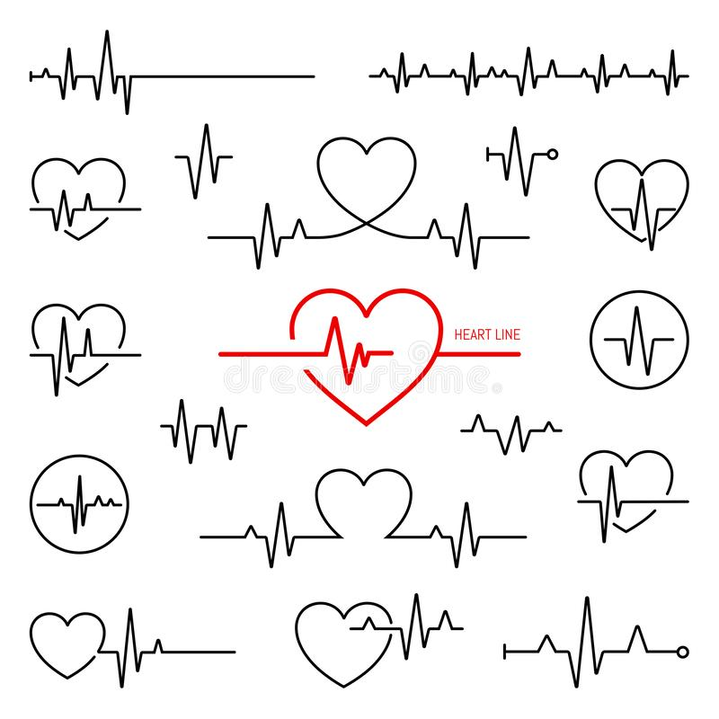 Heart rhythm set, Electrocardiogram, ECG - EKG signal. Heart Beat pulse line concept design isolated on white background stock illustration