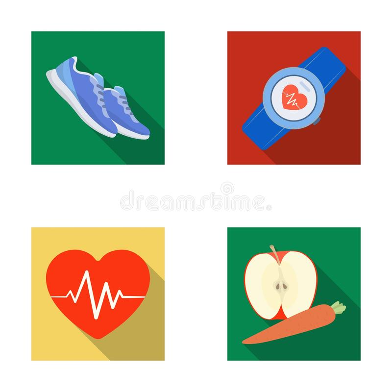 Heart rhythm, vitamins and other equipment for training.Gym and workout set collection icons in flat style vector symbol. Stock illustration vector illustration