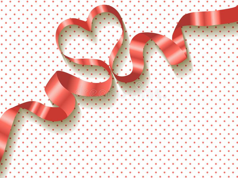 Ribbon Coral color on a white polka dots background.  royalty free illustration