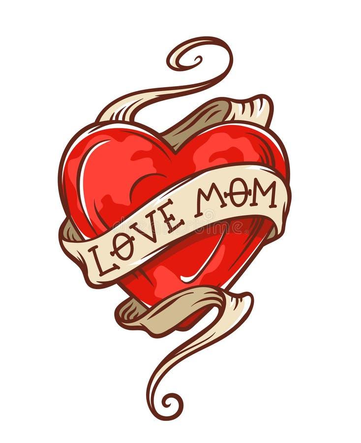 Love mom tattoo stock illustration