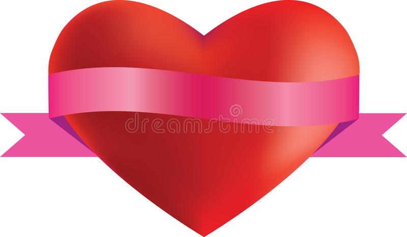 Heart and ribbon vector illustration