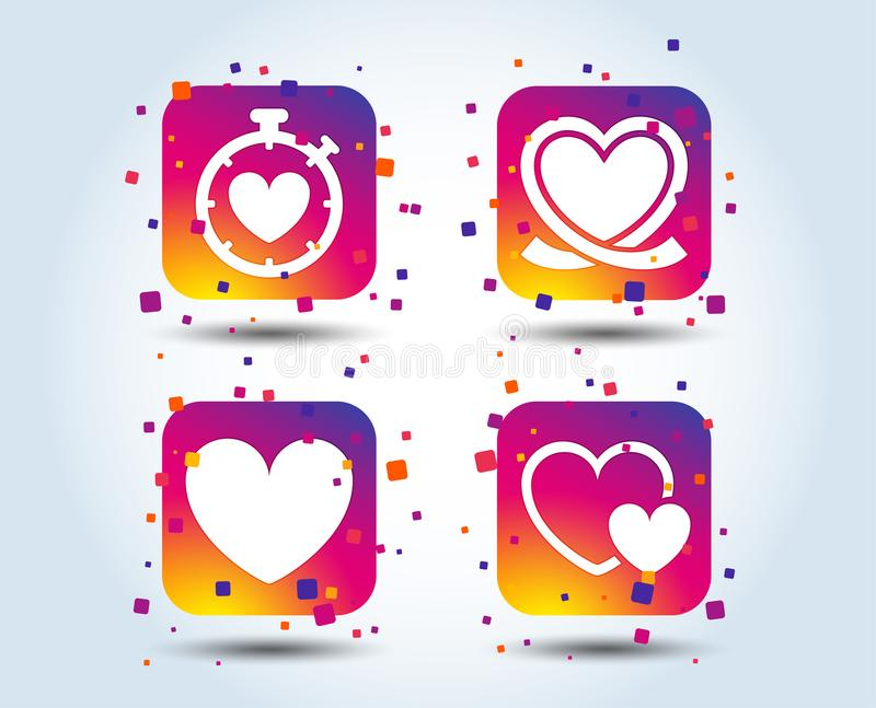 Heart ribbon icon. Timer stopwatch symbol. Love and Heartbeat palpitation signs. Colour gradient square buttons. Flat design concept. Vector vector illustration