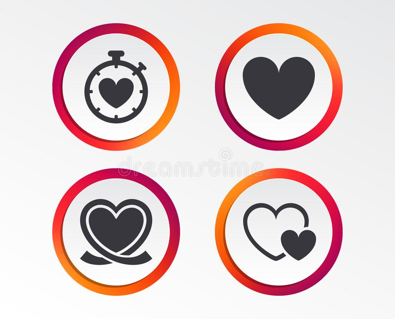 Heart ribbon icon. Timer stopwatch symbol. Love and Heartbeat palpitation signs. Infographic design buttons. Circle templates. Vector royalty free illustration