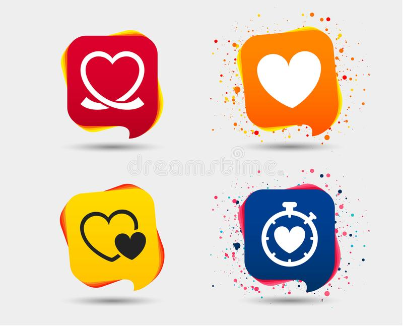 Heart ribbon icon. Timer stopwatch symbol. Love and Heartbeat palpitation signs. Speech bubbles or chat symbols. Colored elements. Vector royalty free illustration