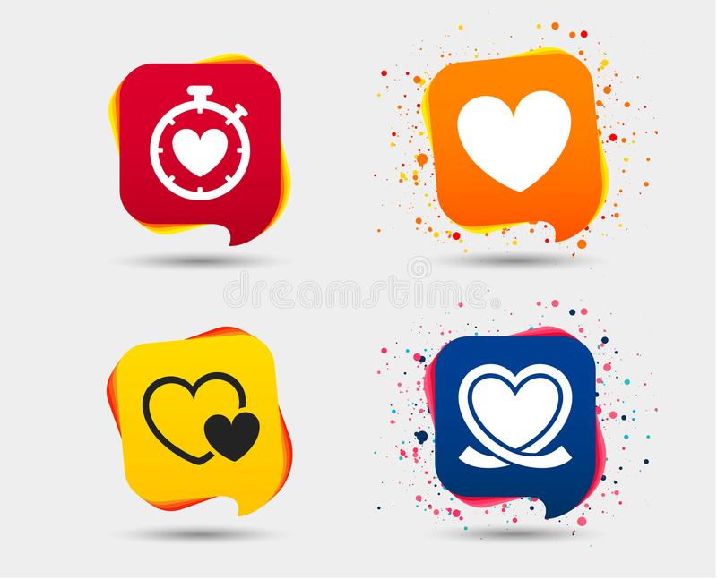 Heart ribbon icon. Timer stopwatch symbol. Love and Heartbeat palpitation signs. Speech bubbles or chat symbols. Colored elements. Vector stock illustration