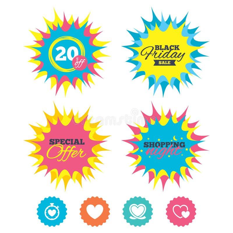 Heart ribbon icon. Timer stopwatch symbol. Shopping night, black friday stickers. Heart ribbon icon. Timer stopwatch symbol. Love and Heartbeat palpitation royalty free illustration