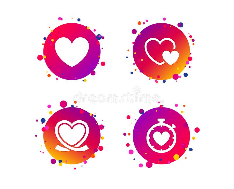 Heart ribbon icon. Timer stopwatch symbol. Vector. Heart ribbon icon. Timer stopwatch symbol. Love and Heartbeat palpitation signs. Gradient circle buttons with stock illustration