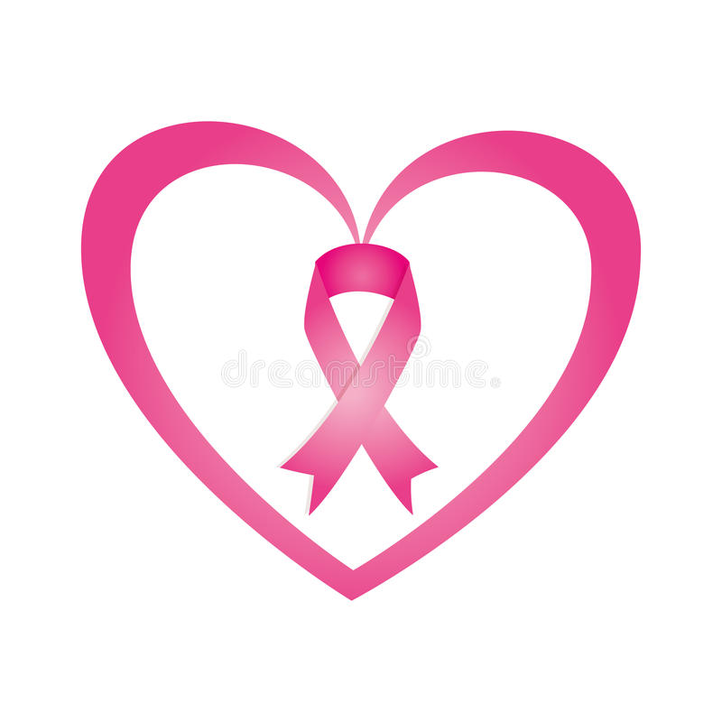 Heart with ribbon pink breast cancer. Vector illustration design royalty free illustration