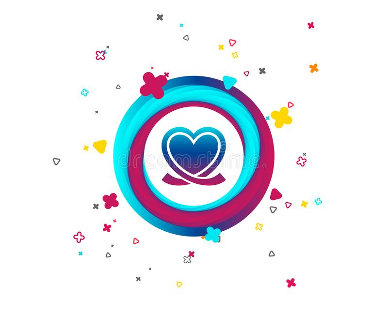Heart ribbon sign icon. Love symbol. Colorful button with icon. Geometric elements. Vector vector illustration