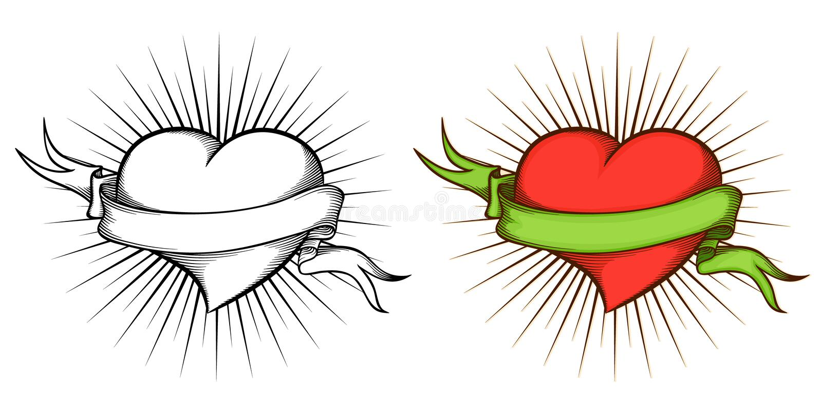 Heart with ribbon in tattoo style. stock illustration