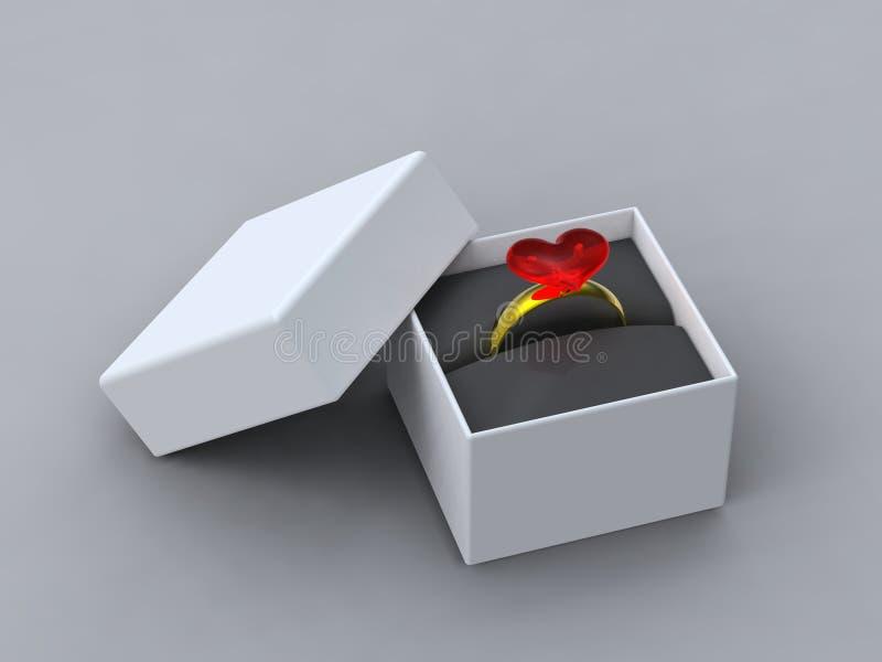 Heart ring in presentation box royalty free stock photo