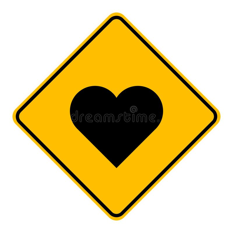 Heart and road sign. As vector illustration royalty free illustration