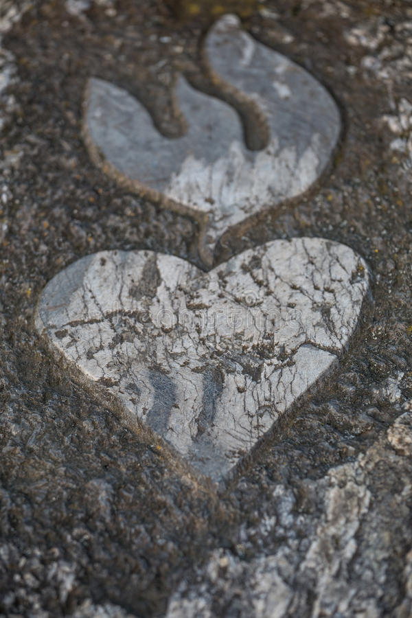 Heart Rock Symbol On The Famous Loreley Rock In Germany Stock Photo