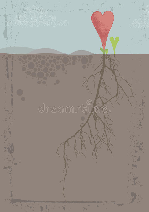 Download Heart and Root stock vector. Image of hill, below, floral - 22616373