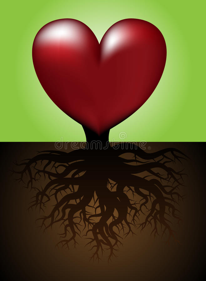 heart with roots stock vector  illustration of growing