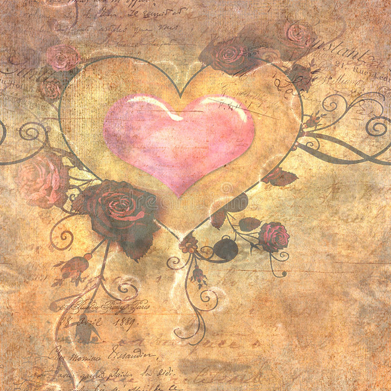 Heart and Rose Vintage Paper stock image