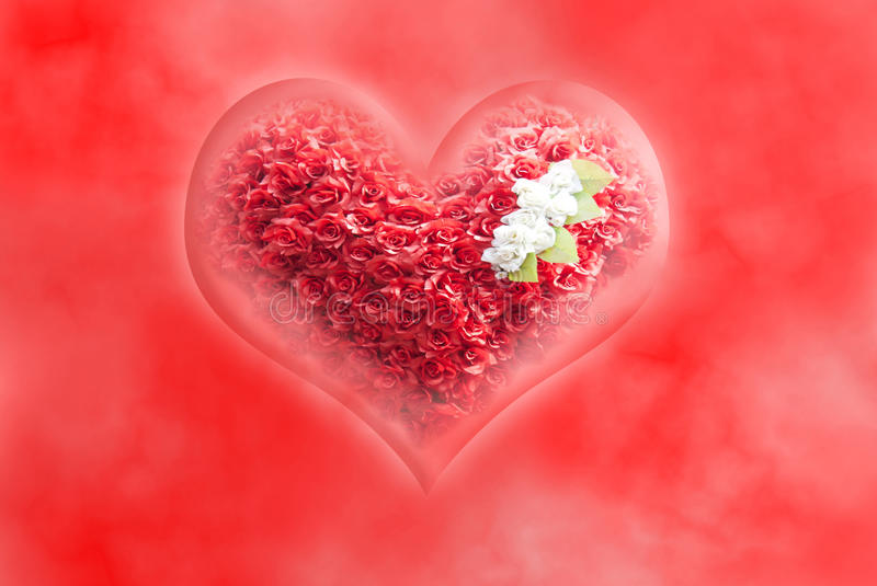 Heart with roses. On the red background stock illustration