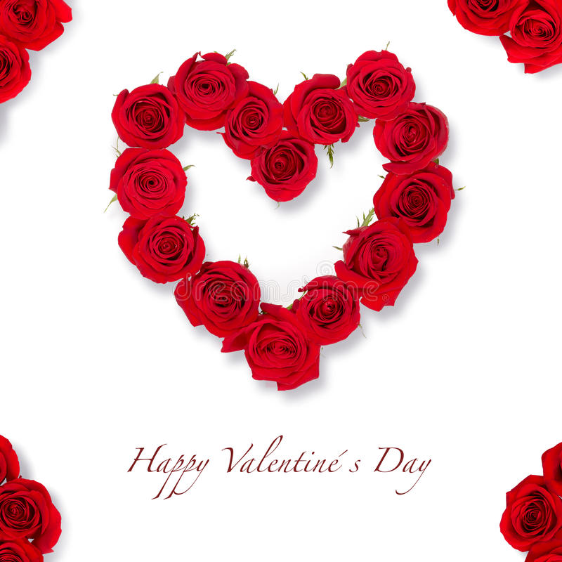 Heart of roses card for Valentine´s day. With red roses stock photos