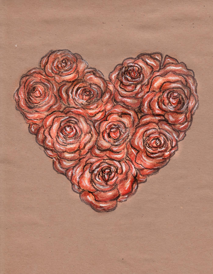 Heart of roses on kraft paper. Pastel drawing stock photos