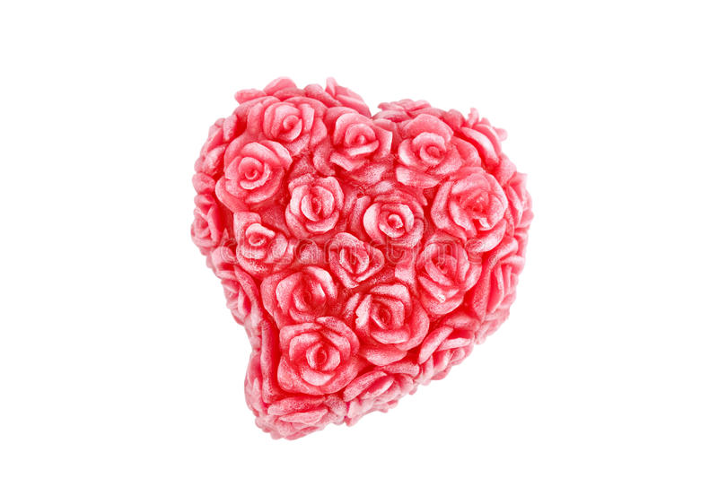 Heart with roses made of wax stock image