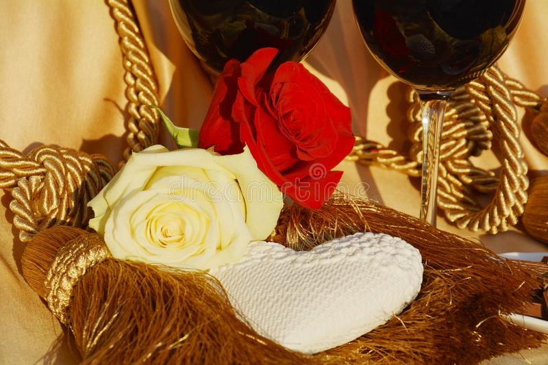 Heart, roses, play of golden hues, background stock photography