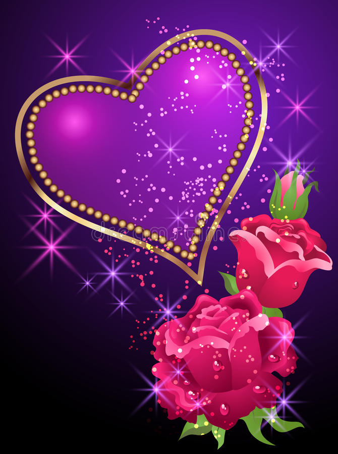 Heart, roses and stars. Glowing background with golden heart, roses and stars royalty free illustration