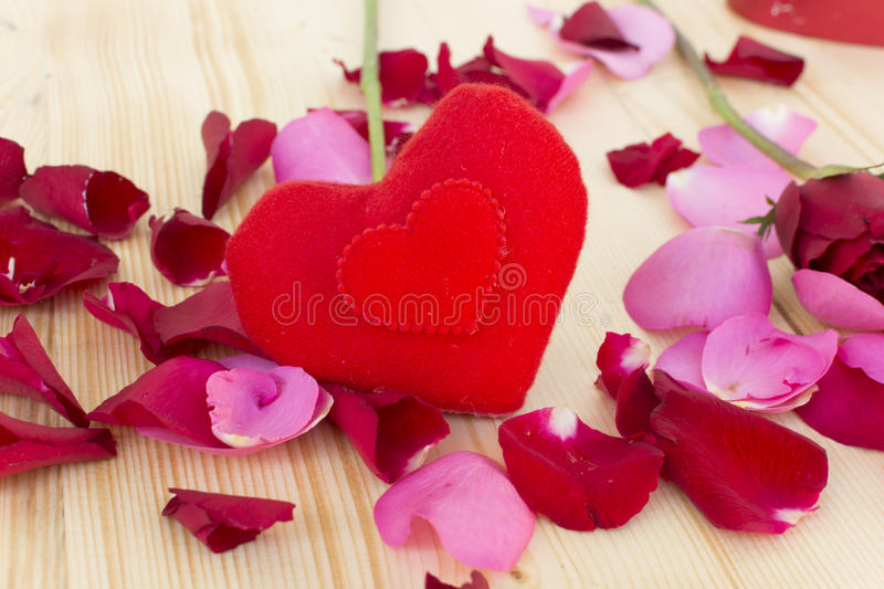 Heart with roses on the wooden.  stock photography