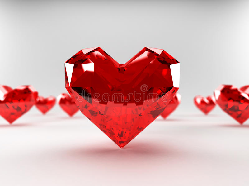 Heart rubies. 3d rendered illustration of some heart-shaped rubies royalty free illustration