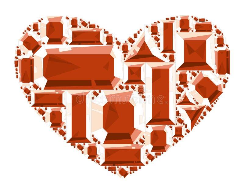 Heart of ruby. Vector illustration stock illustration