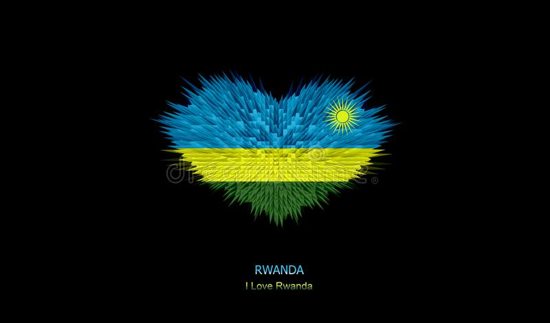 The Heart of Rwanda Flag. stock photos