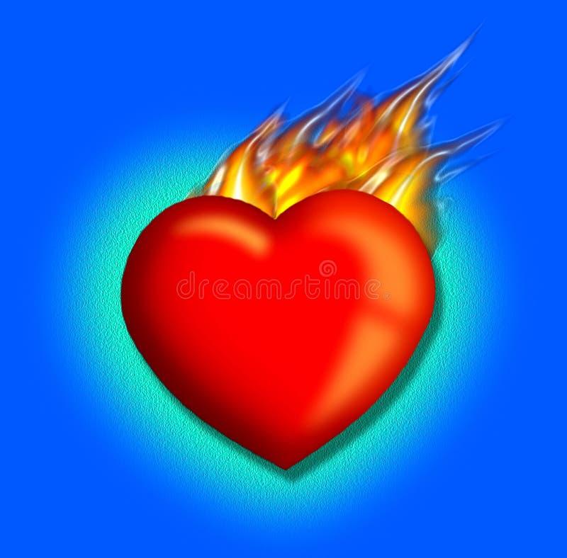 Heart's afire royalty free illustration