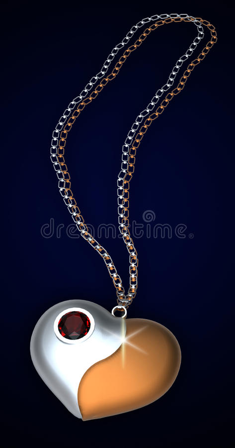 Heart's form pendant with a gem stock photography